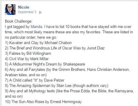 Nicole's list, of course, is filled with awesome and comics.